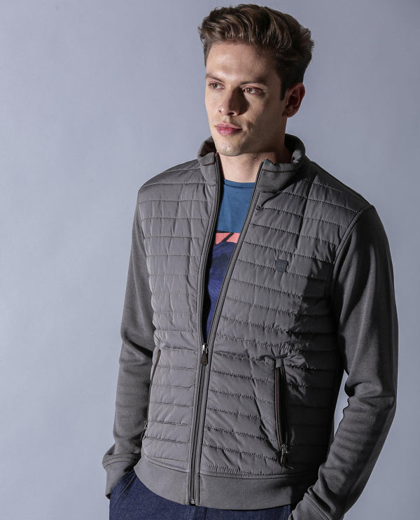 DASKER-LS-CASUAL JACKET-GREY COTTON JACKET RARE RABBIT