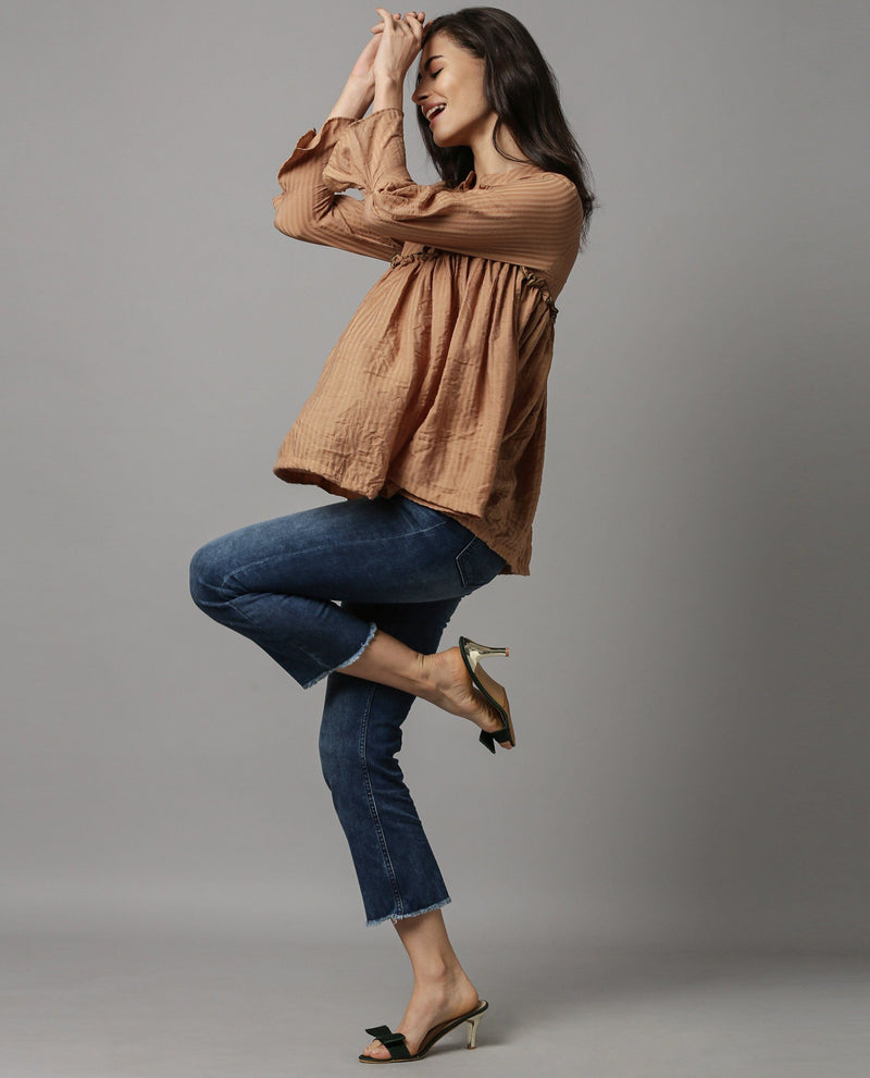POETRY-STRIPE RUFFLE TOP-BROWN TOP RAREISM