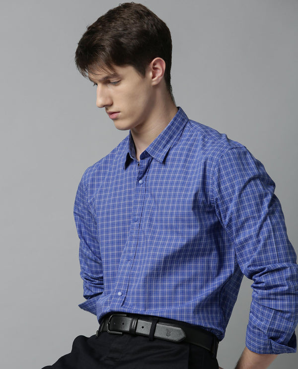 STONE-CHECK SHIRT -BLUE SHIRT RARE RABBIT