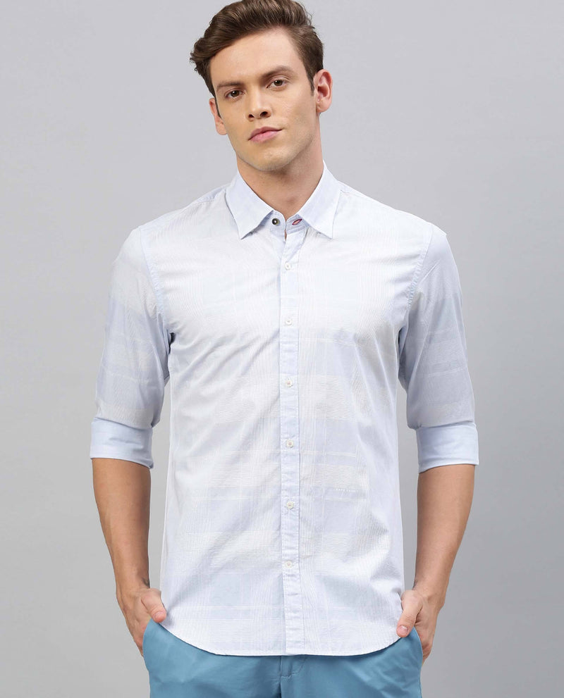 GRADER-CHECKS SHIRT-BLUE SHIRT RARE RABBIT