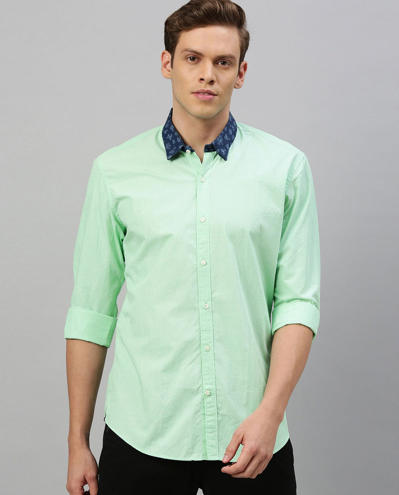 FILLED- Contrast Collar Shirt-GREEN SHIRT RARE RABBIT
