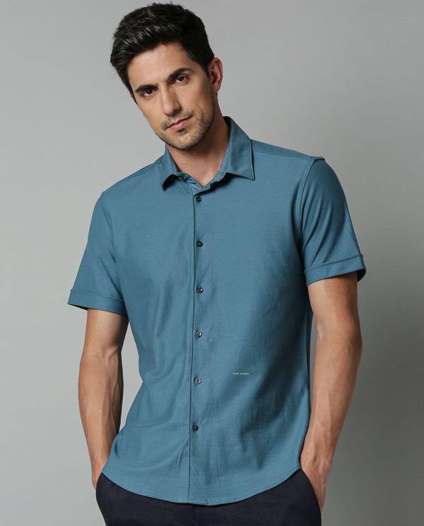 BREATH-SOLID KNITTED STRETCH SHIRT-BLUE SHIRT RARE RABBIT