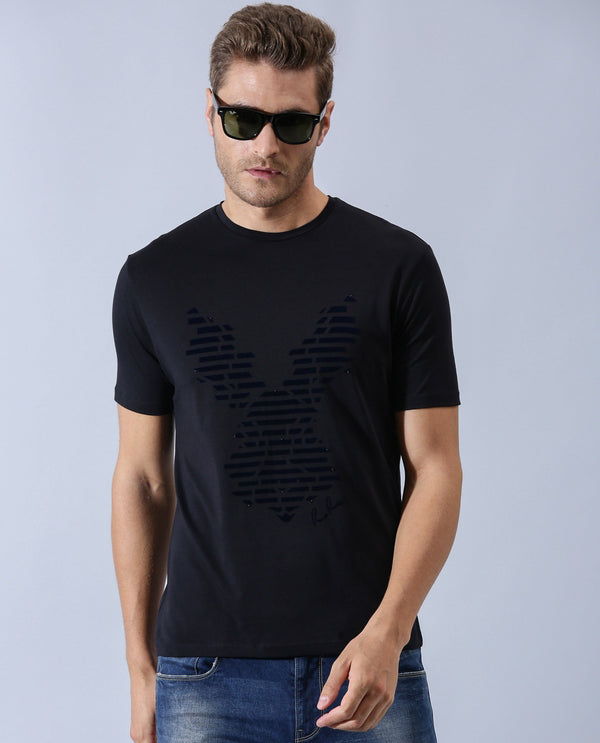 SECTOR-PIMA COTTON T-SHIRT-BLACK T-SHIRT RARE RABBIT