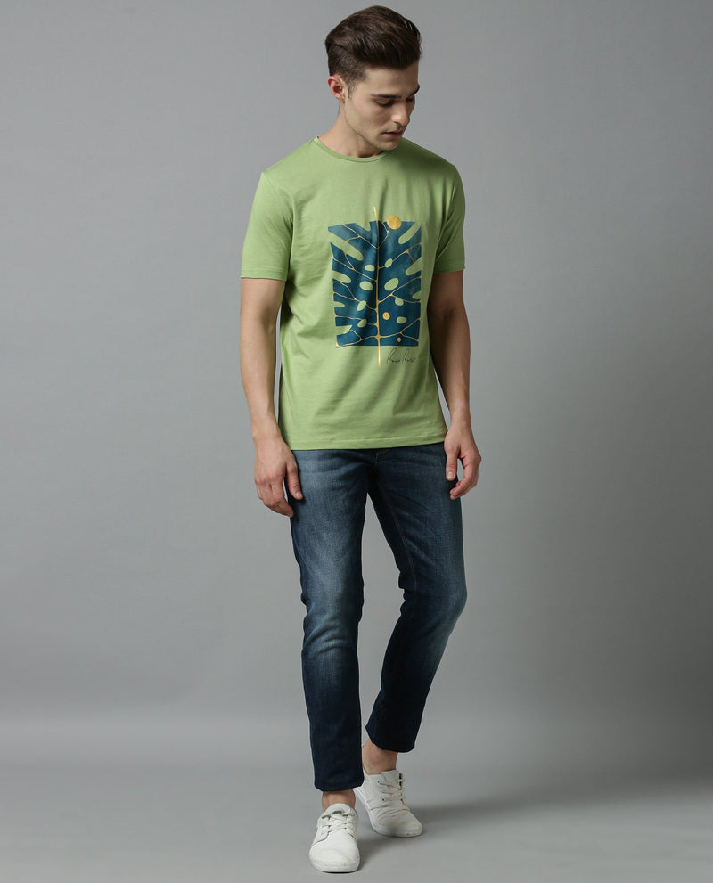 VEINS-GRAPHICH T SHIRT-GREEN T-SHIRT RARE RABBIT
