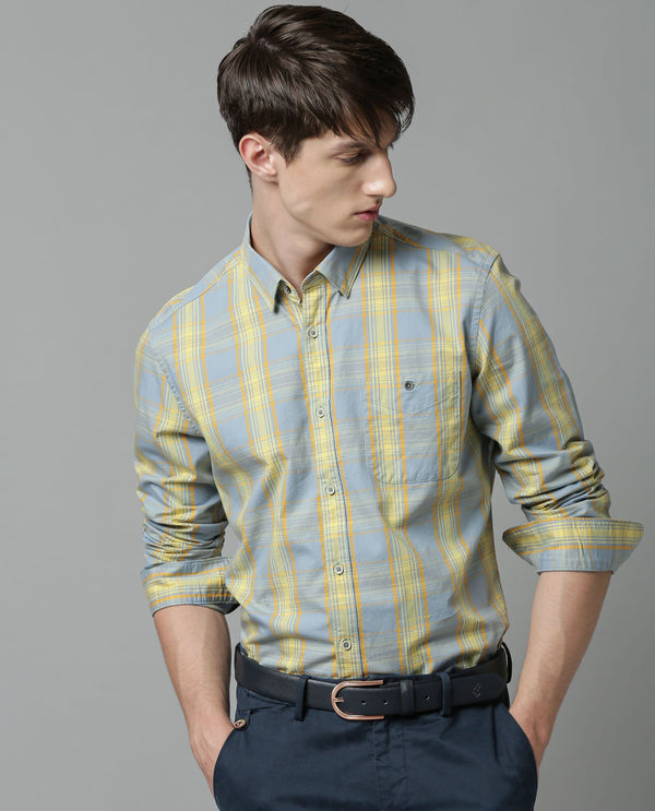 PRIMA-CHECK SHIRT-YELLOW SHIRT RARE RABBIT