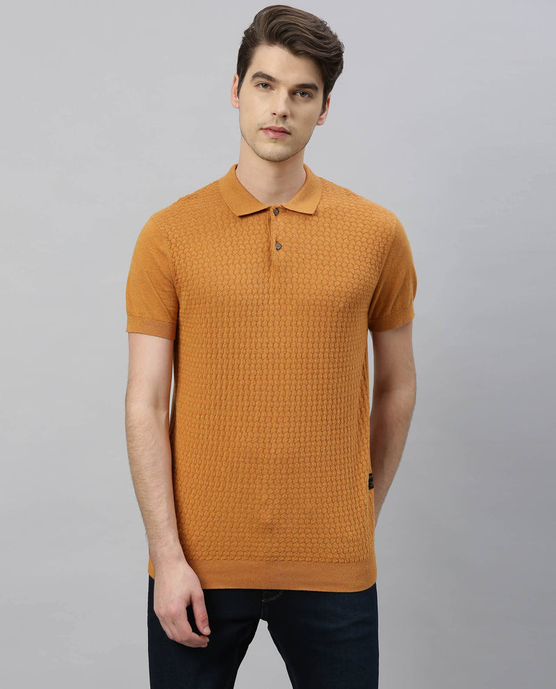 PAST-Jacquard Knit T-shirt-ORANGE POLO RARE RABBIT