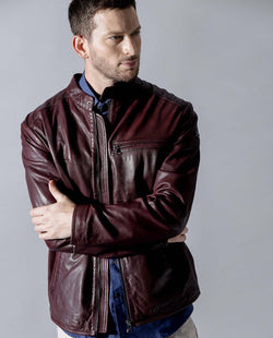 DRED-2-LEATHER JACKET-MAROON LEATHER JACKET RARE RABBIT