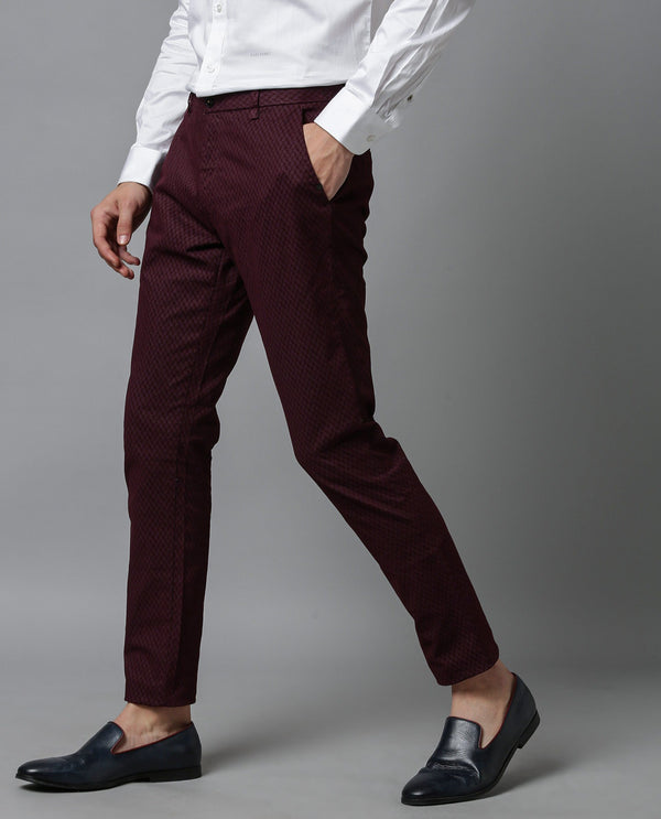 FLORA - MEN'S PRINTED TROUSER - MAROON TROUSERS RARE RABBIT