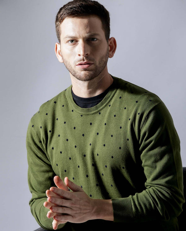 Flock-1-Round Neck Sweater-Green SWEATER RARE RABBIT