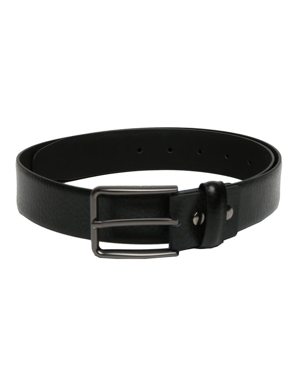 BUFF-GRAINED LEATHER BELT- BLACK RR BELTS RARE RABBIT
