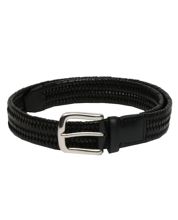 BRICKLE- STRETCH LEATHER BELT - BLACK RR BELTS RARE RABBIT