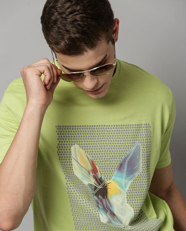SPLASHO-PIMA PRINTED T-SHIRT- GREEN T-SHIRT RARE RABBIT