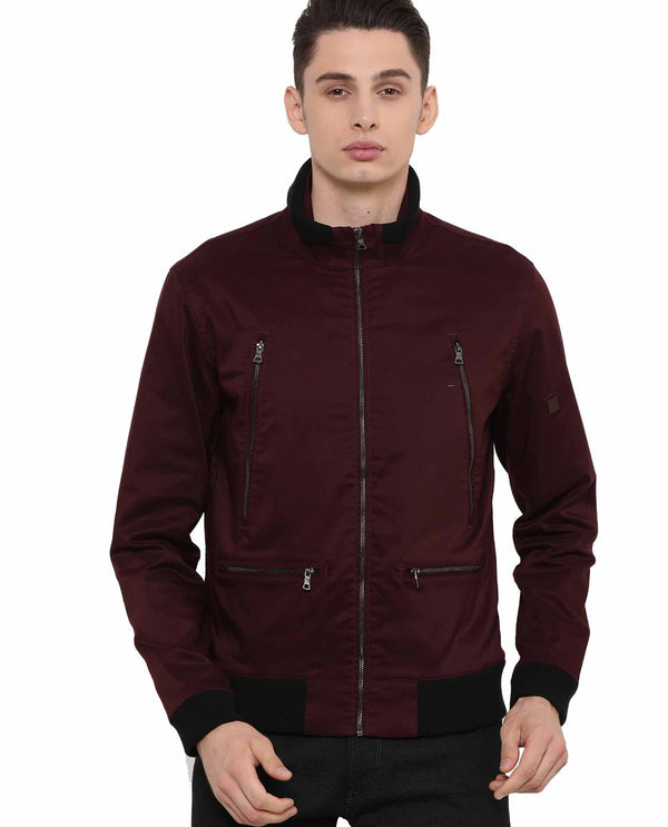 Top-Zipper Jacket-Maroon JACKETS RARE RABBIT