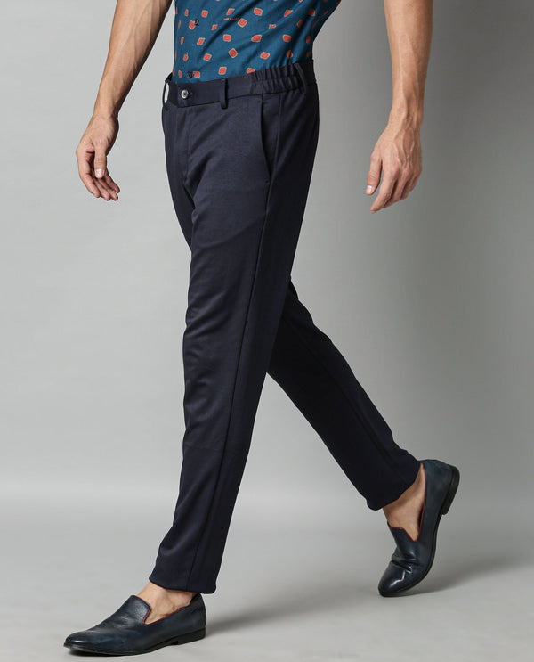 TURNS-SOLID STRETCH TROUSER-NAVY TROUSERS RARE RABBIT