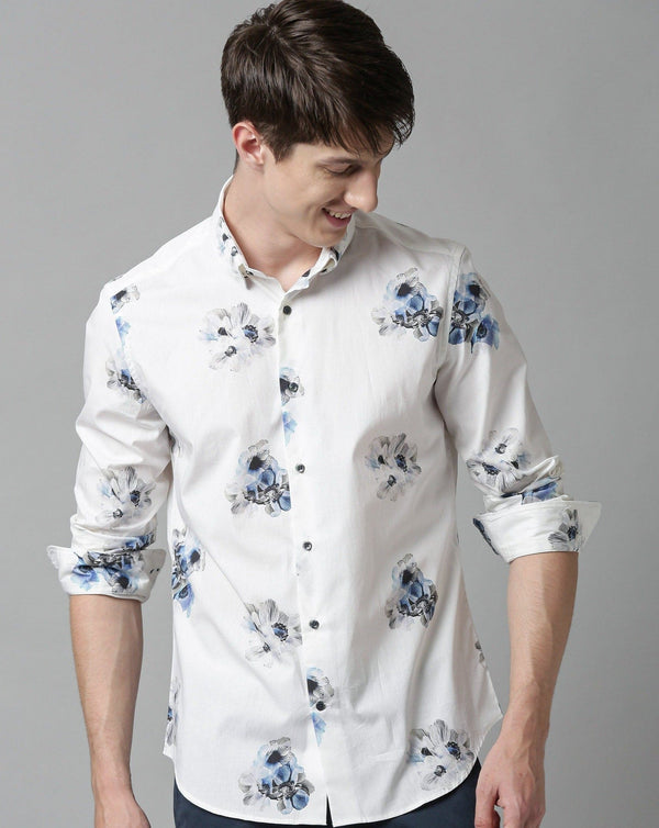 BLOOMING-FANTASY PRINTED SHIRT-WHITE SHIRT RARE RABBIT