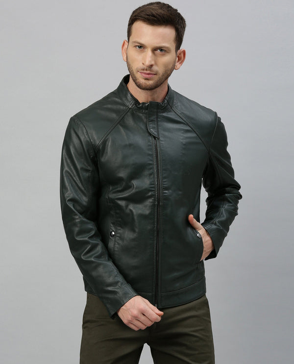 CROCO-2-LEATHER JACKET-GREEN LEATHER JACKET RARE RABBIT