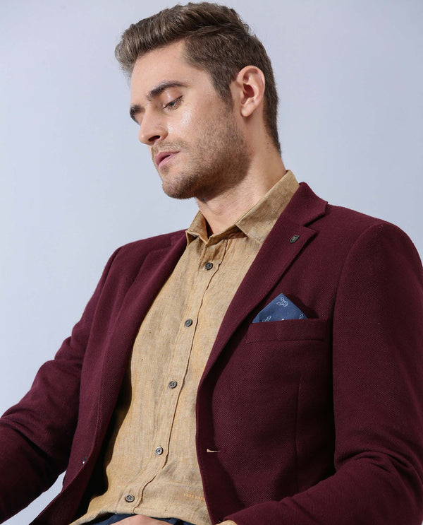 MEN'S CLASSIC BLAZER - BOSCO WINE RED BLAZER RARE RABBIT