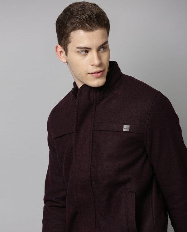 WOOL-COTTON JACKET-MAROON COTTON JACKET RARE RABBIT