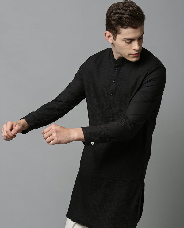 PINTUCK - MEN'S KURTA - BLACK KURTA RARE RABBIT
