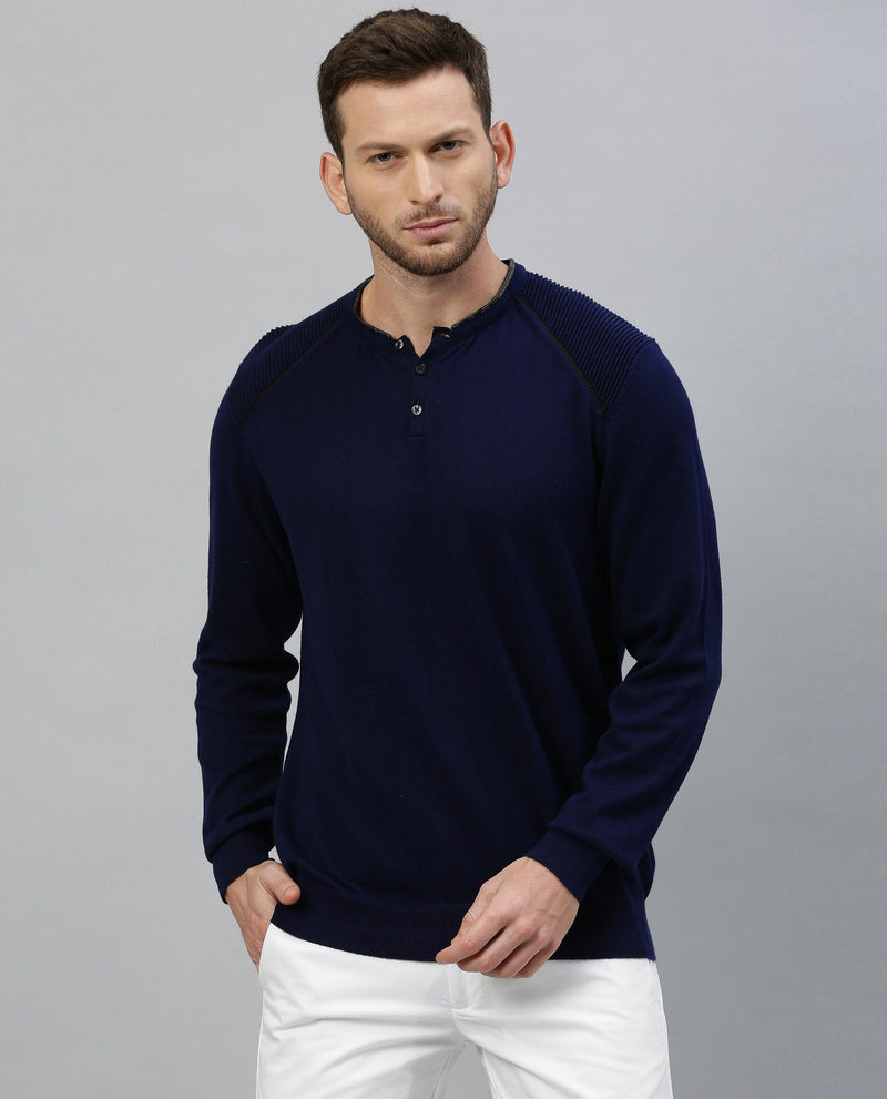 PURE-ROUND NECK SWEATER-NAVY SWEATER RARE RABBIT