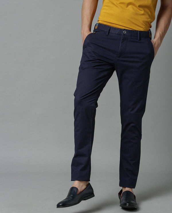 DARO-5-SLIM FIT TROUSER-NAVY TROUSERS RARE RABBIT