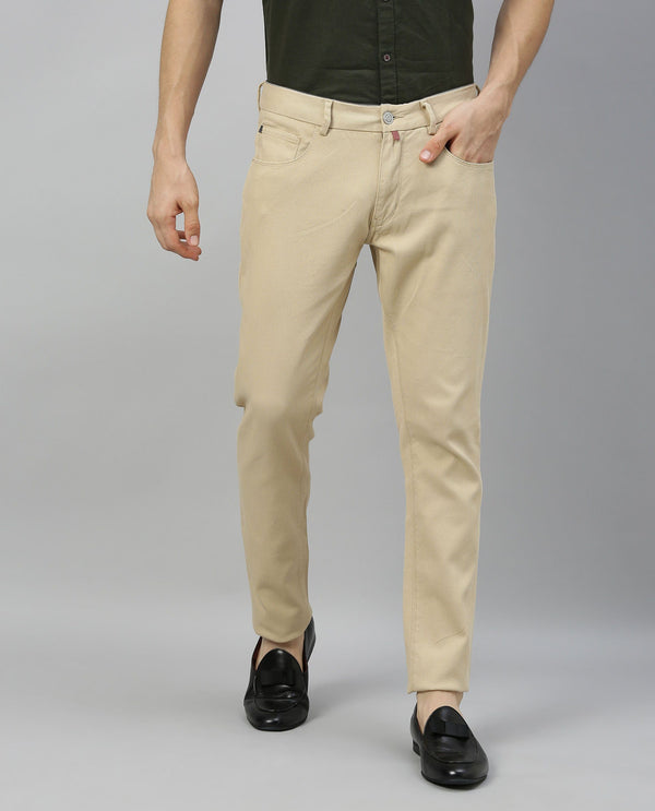 SPOCK-2-5 POCKET DENIM PANT-BEIGE TROUSERS RARE RABBIT