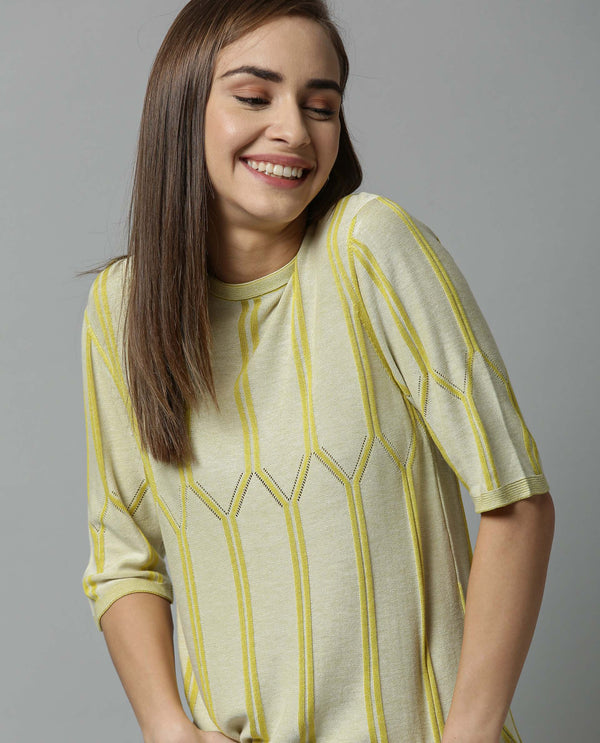ORATE- PATTERN KNIT TOP-YELLOW TOP RAREISM
