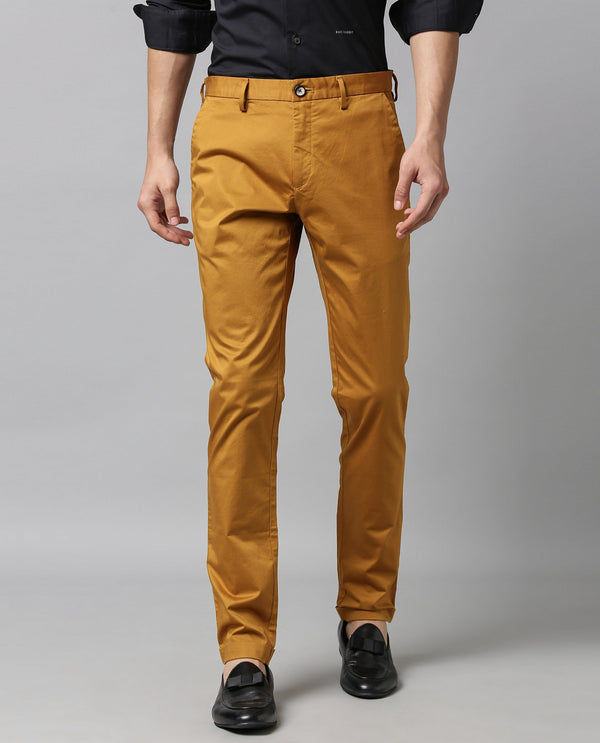 SHEEN - SOLID SATIN TROUSER - MUSTARD TROUSERS RARE RABBIT