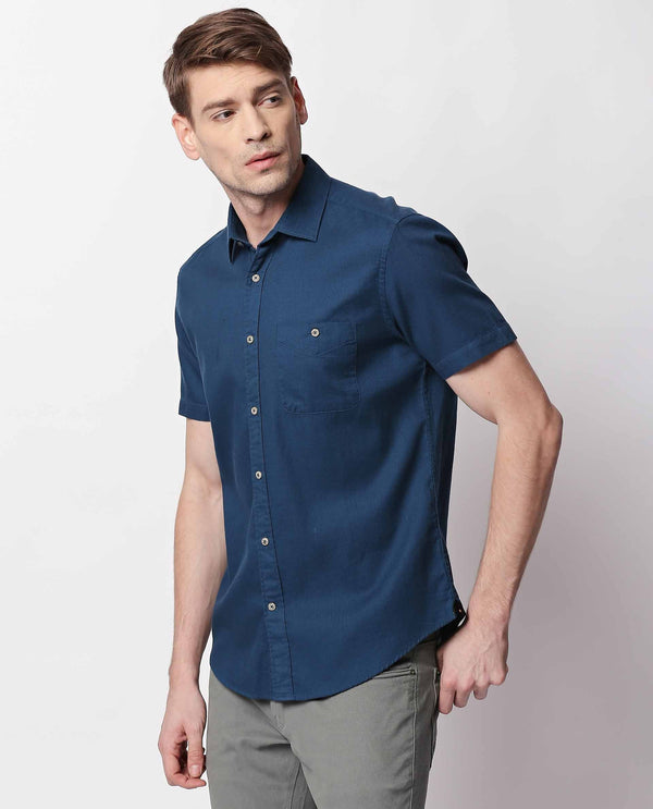 AFFLE- MEN'S SHORT SLEEVE TEXTURED SHIRT-BLUE SHIRT RARE RABBIT