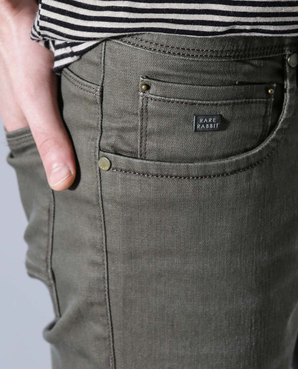 MOSS-DENIM PANTS-LIGHT GREEN DENIM PANT RARE RABBIT