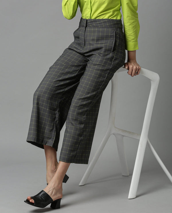 CROSS-FLARED CHECK TROUSERS-GREY TROUSERS RAREISM