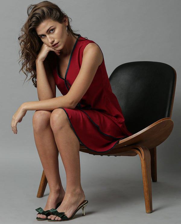 EDGE-SHORT SLEEVELESS DRESS-MAROON DRESS RAREISM