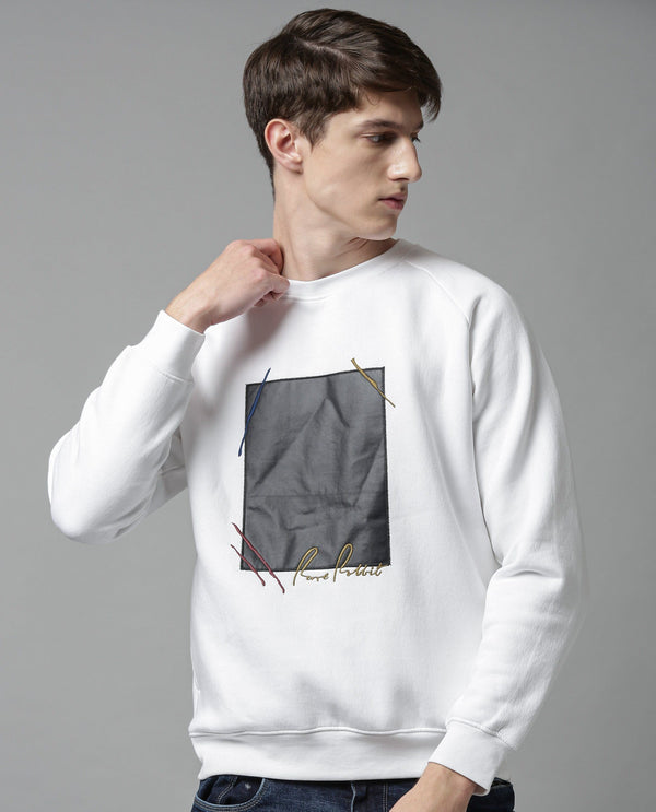 SWING-SOILD SWEATSHIRT-WHITE SWEATSHIRT RARE RABBIT