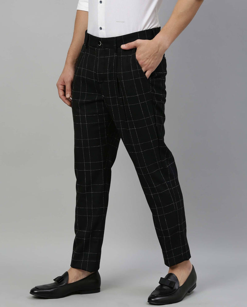 CHICAGO-CHECK TROUSER-NAVY TROUSERS RARE RABBIT