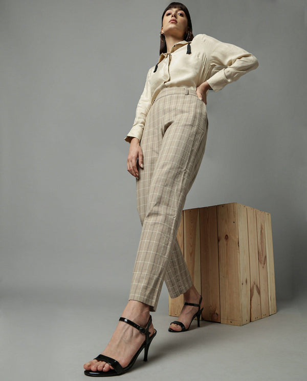 MANGO-CHECK TAPERED TROUSER-BEIGE TROUSERS RAREISM