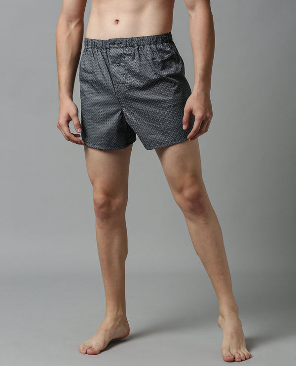 DILLIAN-MEN'S COMFORT BOXERS-GREY BOXER RARE RABBIT