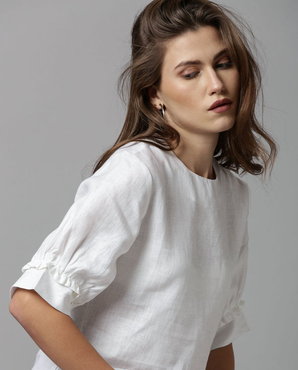 MESSI-LINEN RUFFLED SLEEVE TOP-WHITE TOP RAREISM