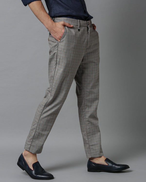 SPAIN-STRETCH CHECKS TROUSERS-BEIGE TROUSERS RARE RABBIT