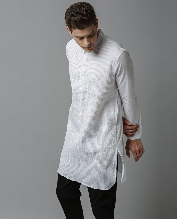 PINTUCK - MEN'S KURTA - WHITE KURTA RARE RABBIT