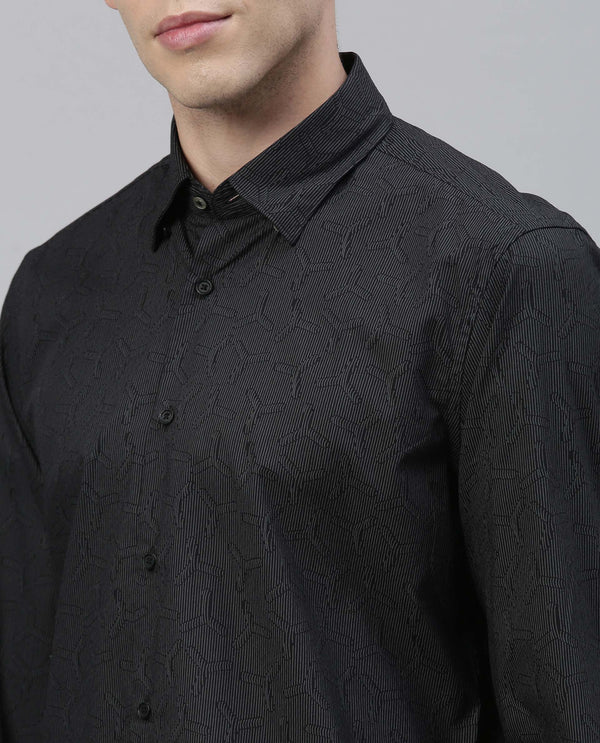 REEK- JACQUARD PRINT COTTON SHIRT - BLACK SHIRT RARE RABBIT