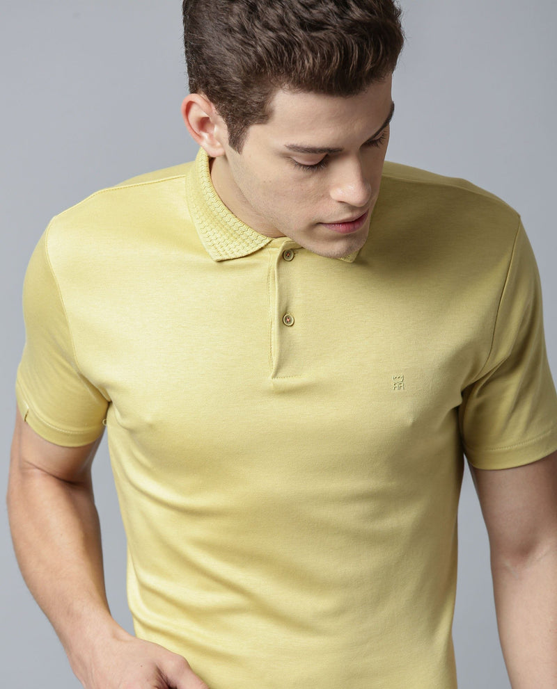 BRAIDED 4-MEN'S LIQUID COTTON POLO T-SHIRT-MUSTARD POLO RARE RABBIT
