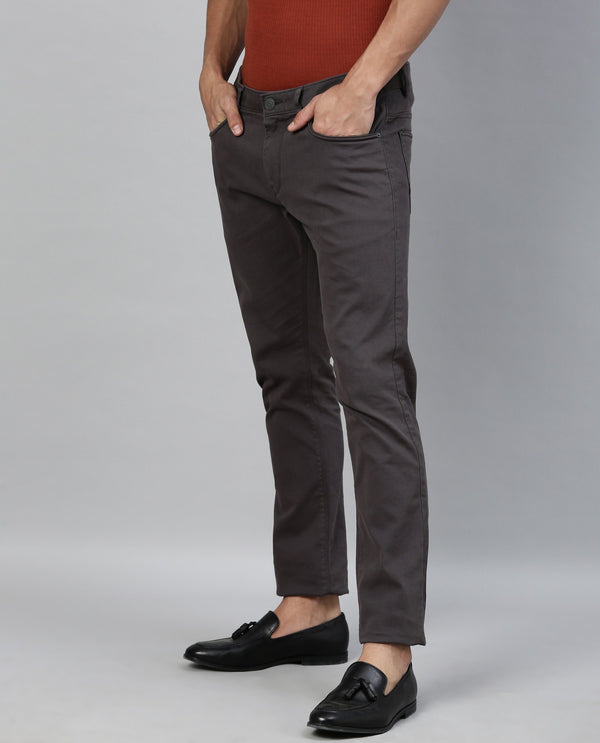 SPOCK-4-TEXTURED SOLID TROUSER-GREY TROUSERS RARE RABBIT