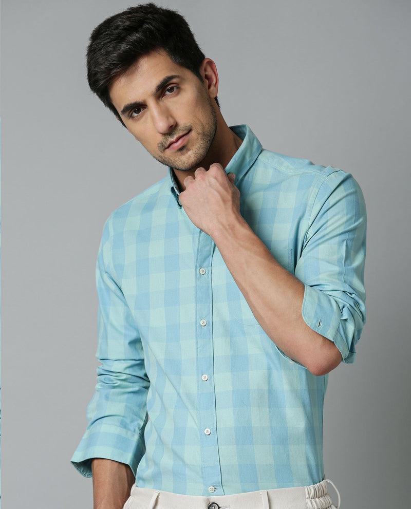 CONNECT-TEXTURED CHECK SHIRT-BLUE SHIRT RARE RABBIT