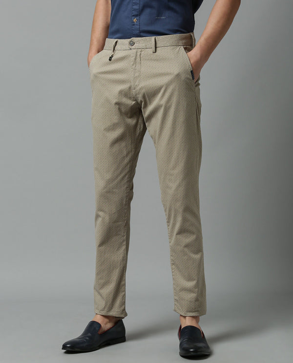 LEVANO-Printed trouser- BEIGE TROUSERS RARE RABBIT