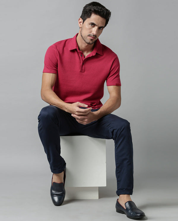 MESH-SOLID TEXTURED POLO-RED POLO RARE RABBIT