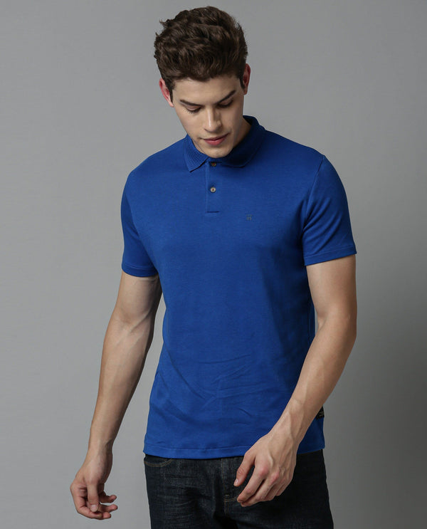 BRAIDED-MEN'S LIQUID COLLAR POLO T-SHIRT-BLUE POLO RARE RABBIT