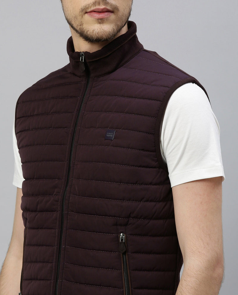 DASKER-SLEEVELESS JACKET-MAROON COTTON JACKET RARE RABBIT