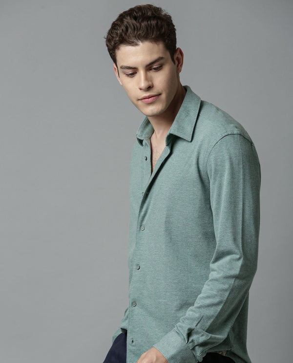 BREATHE 2-MEN'S CLASSIC KNIT SHIRT-GREEN SHIRT RARE RABBIT