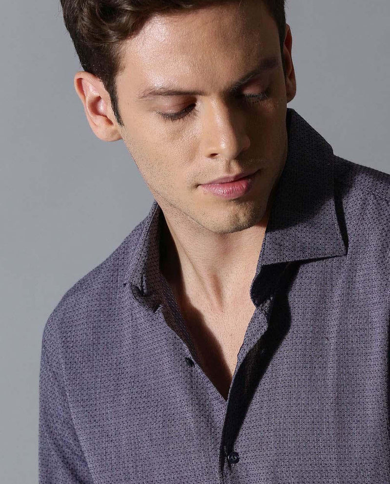 BLUEMAZE -MEN'S TEXTURED DOBBY SHIRT-PURPLE SHIRT RARE RABBIT