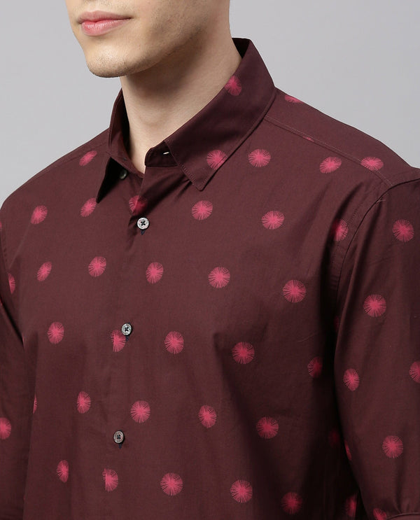 CRACKED - PRINTED SHIRT - MAROON SHIRT RARE RABBIT